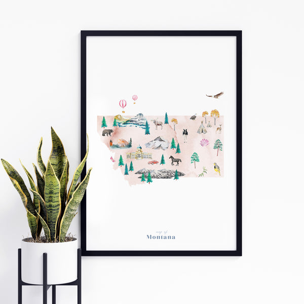 Montana Illustrated State Map Art Print