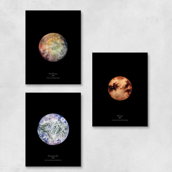 Moons of the Solar System Art Print Set