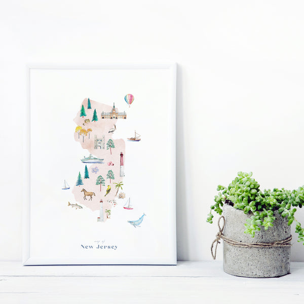 New Jersey Illustrated State Map Art Print
