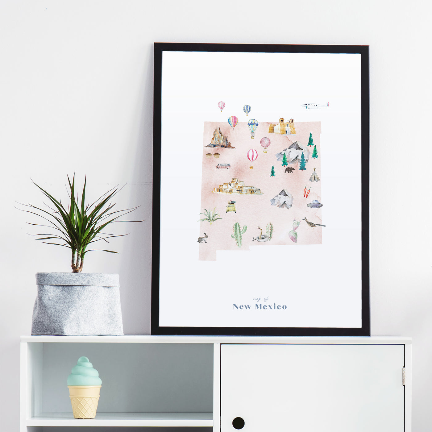 New Mexico Illustrated State Map Art Print