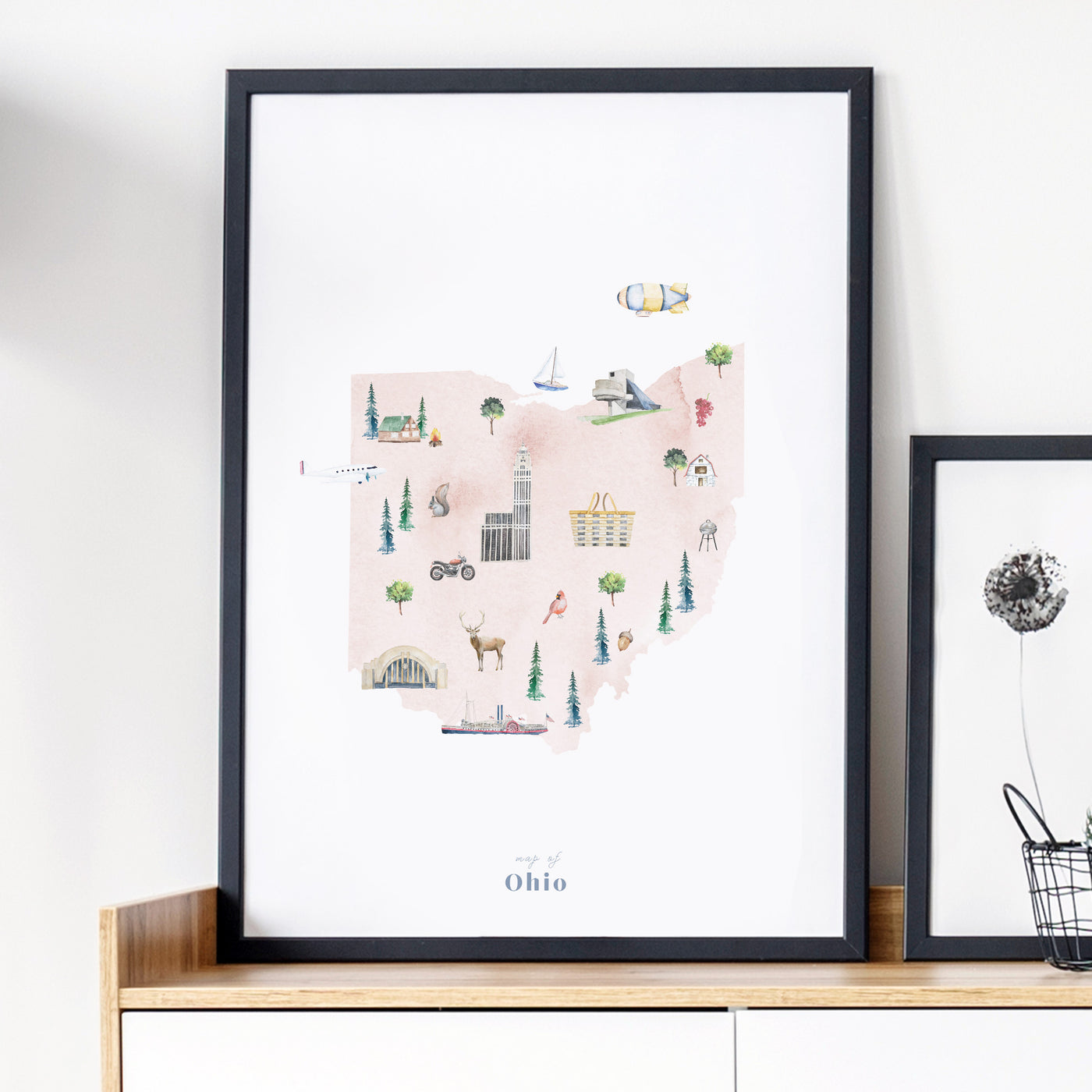 Ohio Illustrated State Map Art Print