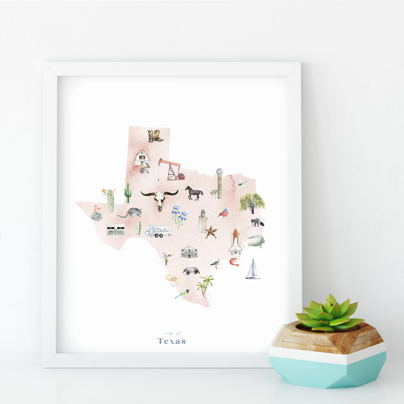 Texas Illustrated State Map Art Print