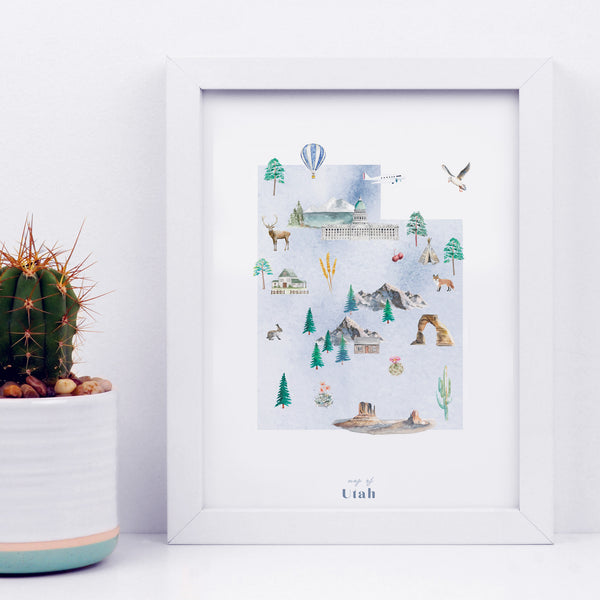 Utah Illustrated State Map Art Print