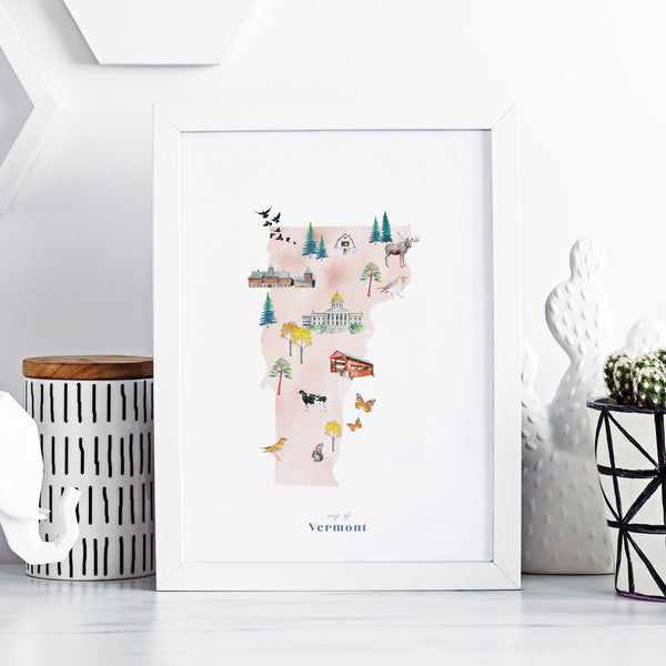 Vermont Illustrated State Map Art Print
