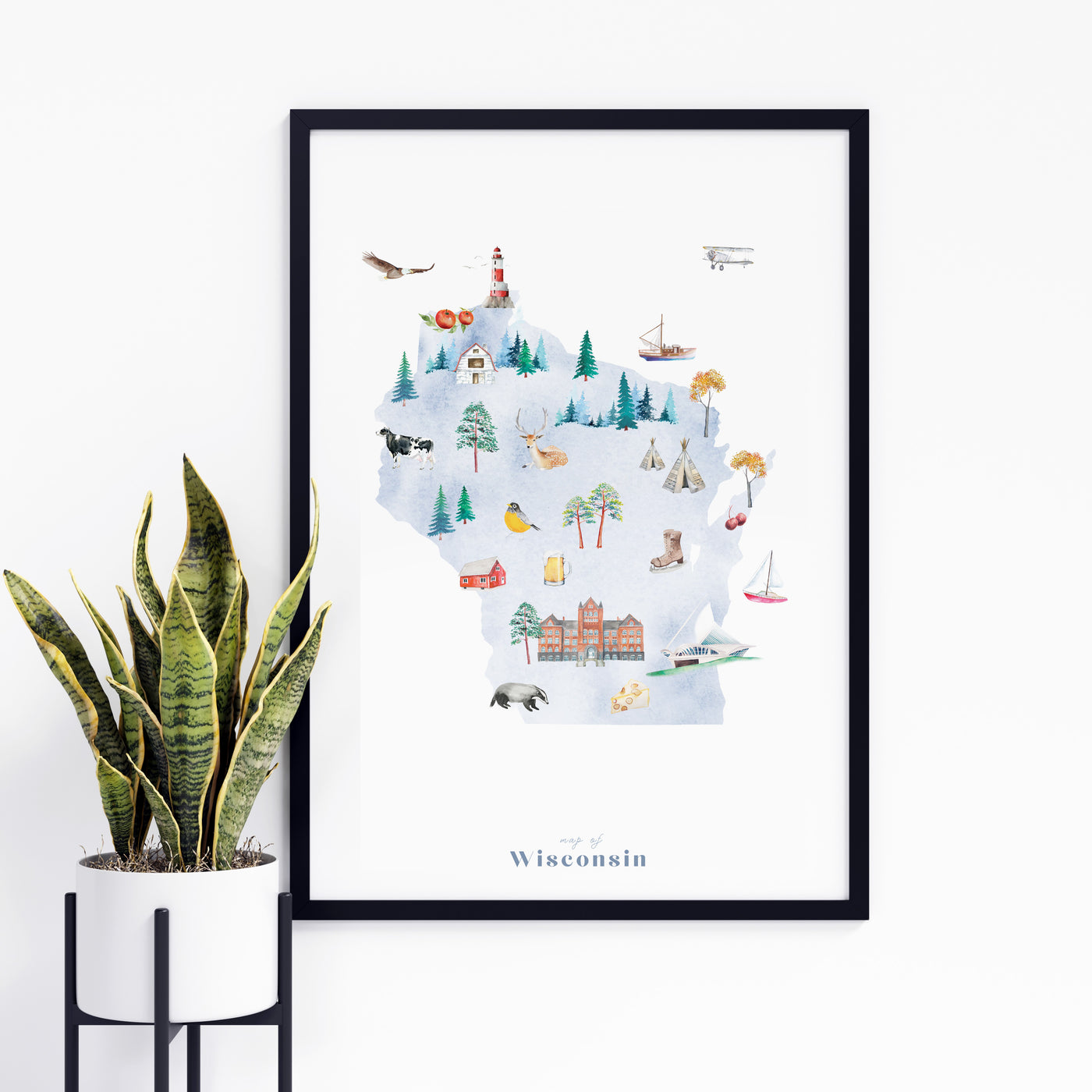 Wisconsin Illustrated State Map Art Print