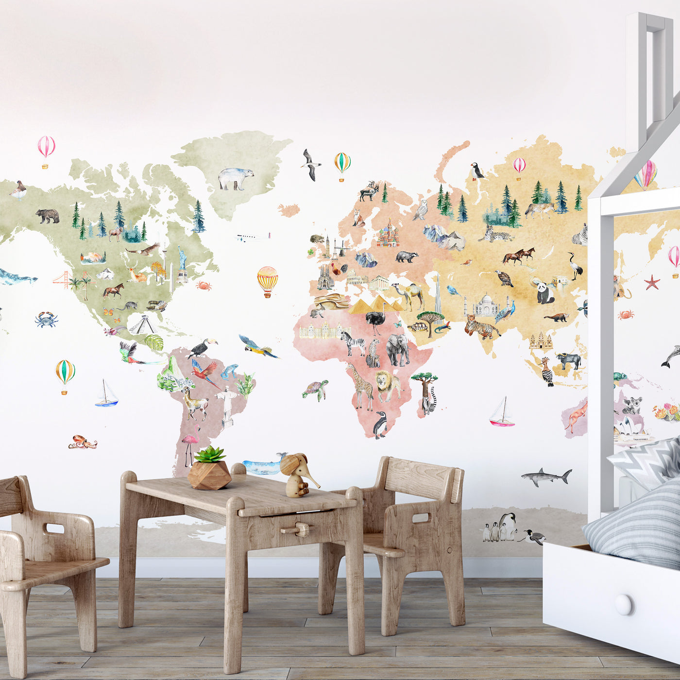 Animals of the World Map Decal