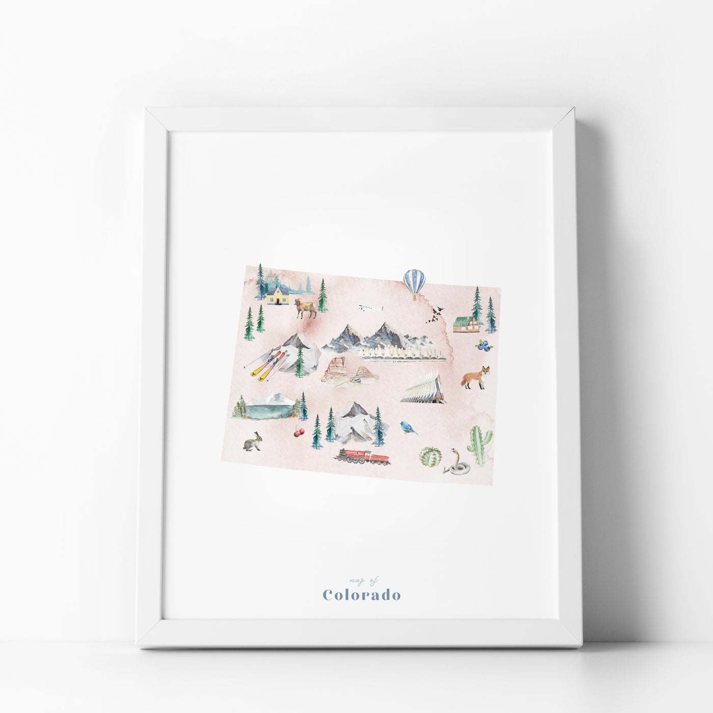 Colorado Illustrated State Map Art Print