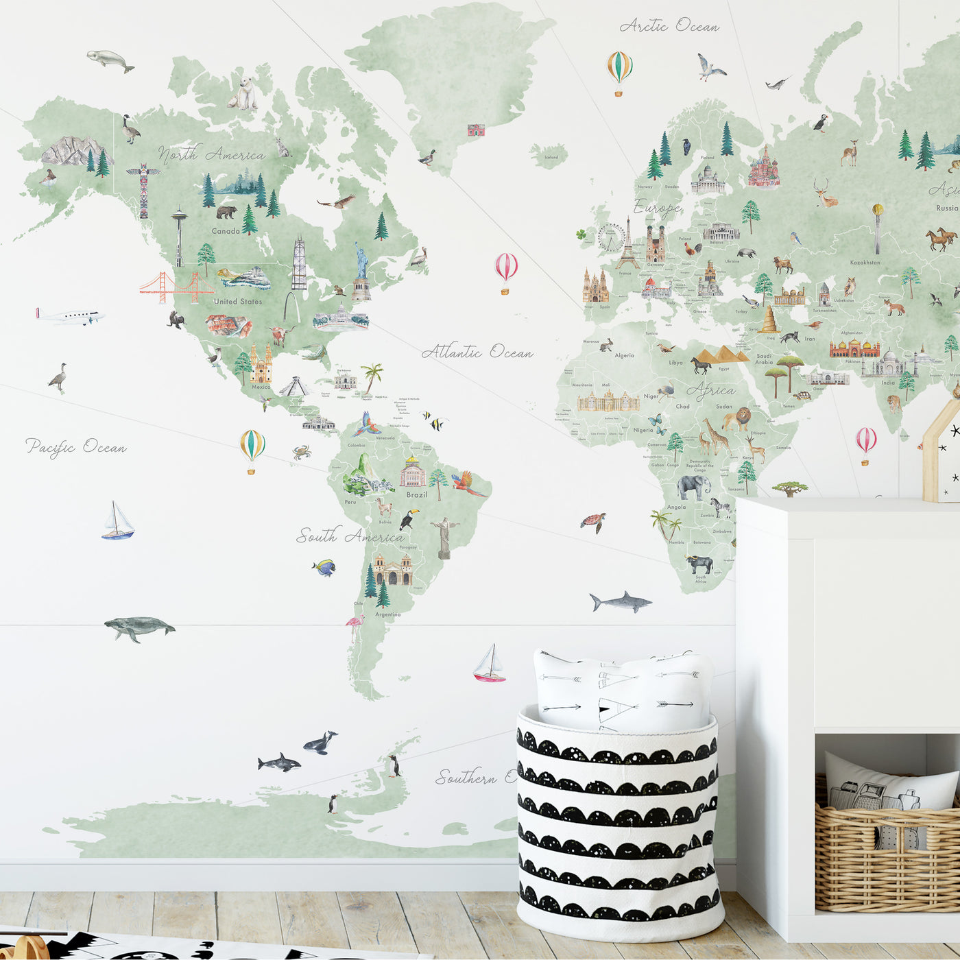 Countries of the World Map Decal