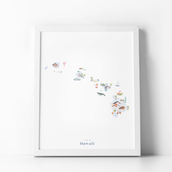 Hawaii Illustrated State Map Art Print