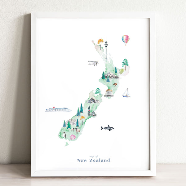 New Zealand Illustrated Map Art Print