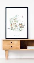 Denmark Illustrated Map Art Print
