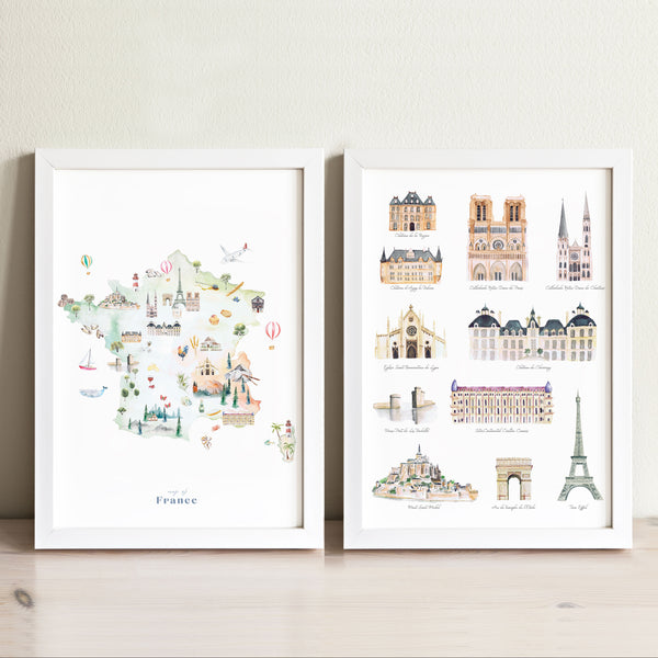 France Illustrated Map and French Landmarks Art Print Set