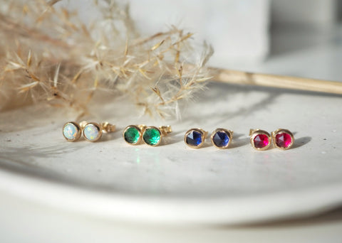 14k Gold - Vega Emerald Earrings