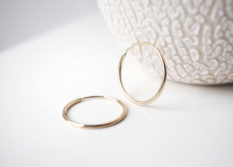 14k Gold Sleeper Hoop Earrings