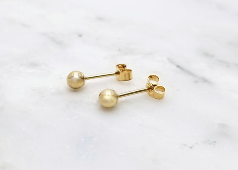 14k Gold Ball Post Earrings
