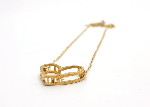 Love Heart Necklace (Raw Brass) - LanaBetty Designs - 1