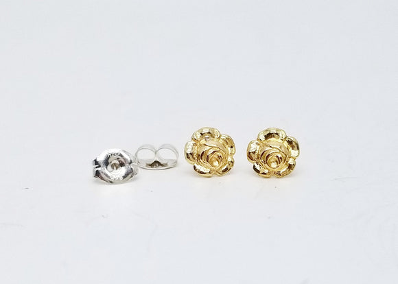 Littlest Brass Rose Flower Post Earrings