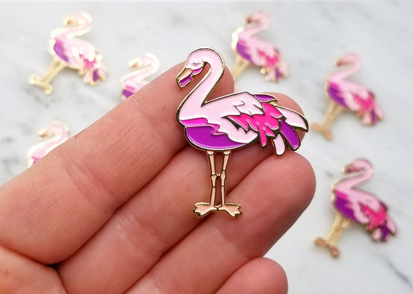 Friendly Flamingo Lapel Pin - Pastels