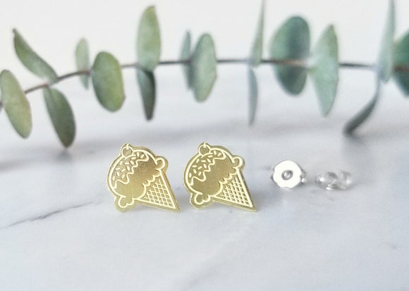 Ice Cream Cone Brass Earrings