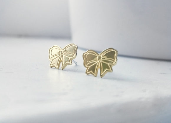 Pretty Bow Brass Earrings