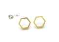 Hexagon Brass Post Earrings