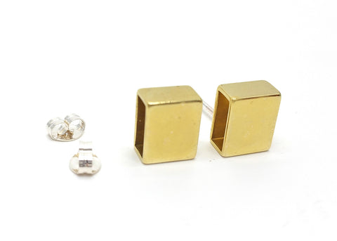 Thick Rectangle Post Earrings