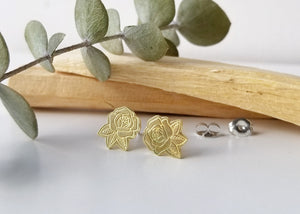 Rose Brass Earrings