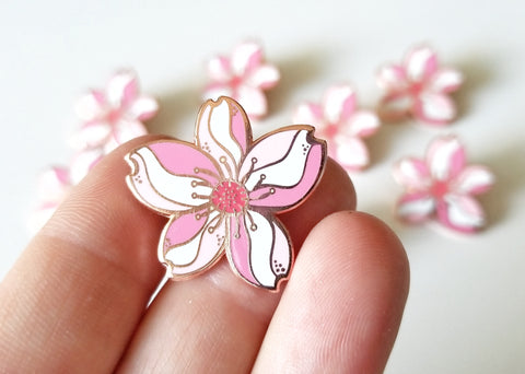 Cherry Blossom Lapel Pin - Rose Gold