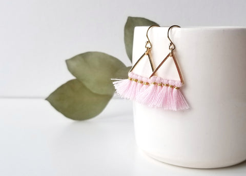 Fortune Triangle Tassel Earrings