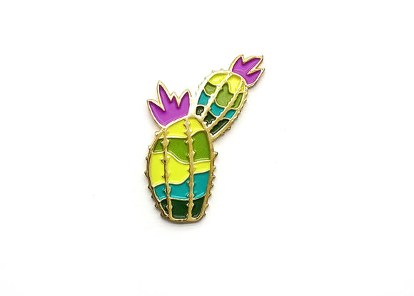 Prickly Cactus Lapel Pin - Magenta
