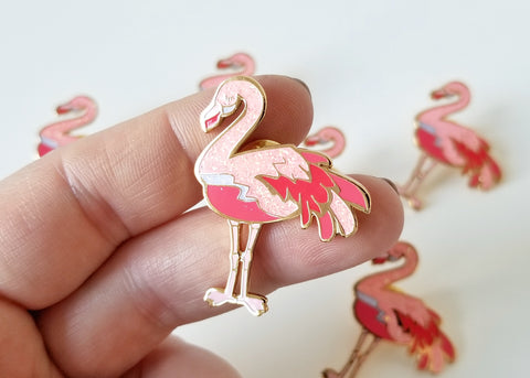 Friendly Flamingo Lapel Pin - Sparkle Pink