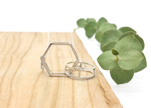 Circle + Hexagon Necklace