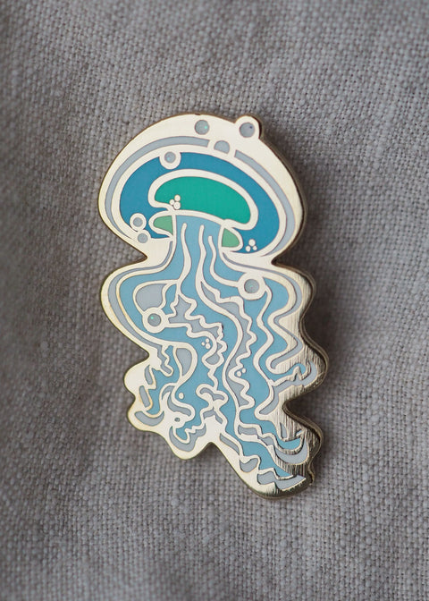 Jellyfish - Lapel Pin - Baby Blue