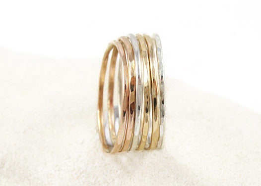 Caelum Hammered Stacking Ring