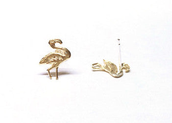 Flamingo Brass Post Earrings