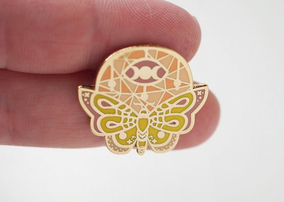 Mystic - Ethereal Moth Lapel Pin Light