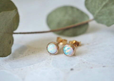 Vega Opal Earrings - 14k Gold