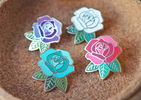 Rose - Lapel Pin - White Sparkle