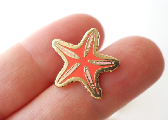 Tiny Peach Starfish - Lapel Pin
