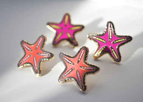 Tiny Neon Starfish - Lapel Pin