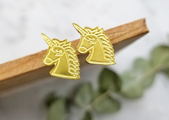 Unicorn Brass Earrings