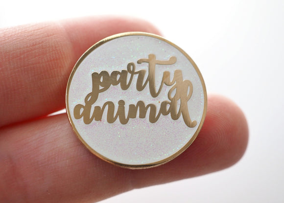 Party Animal - White Sparkle - Lapel Pin