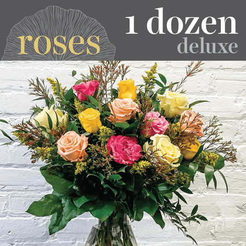 Assorted Roses - Dozen (Deluxe)