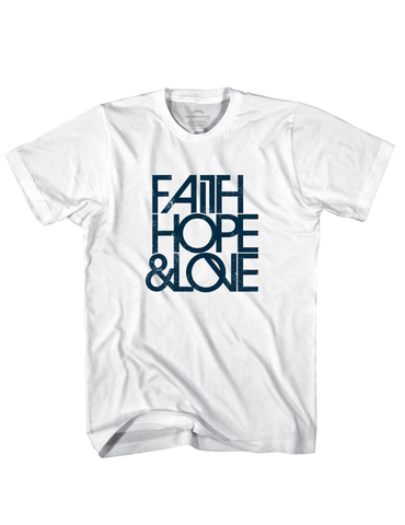Faith, Hope & Love Block T-Shirt - White