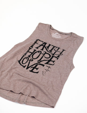 Women's Faith, Hope & Love Script Tank Top - Taupe