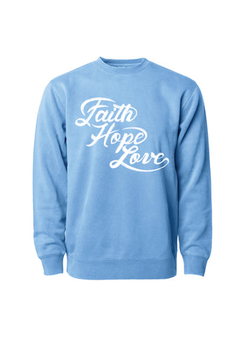 Faith, Hope & Love Airbrush Crew Sweatshirt - Multicolor
