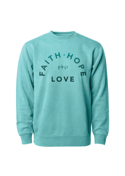Faith, Hope & Love Arch Crew Sweatshirt - Mint