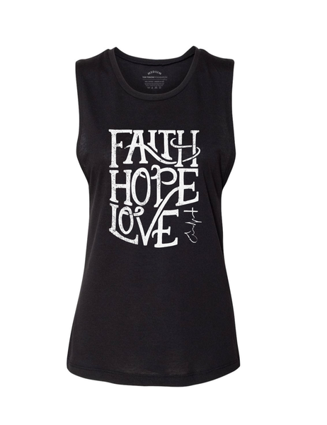 Women's Faith, Hope & Love Script Tank Top - Black