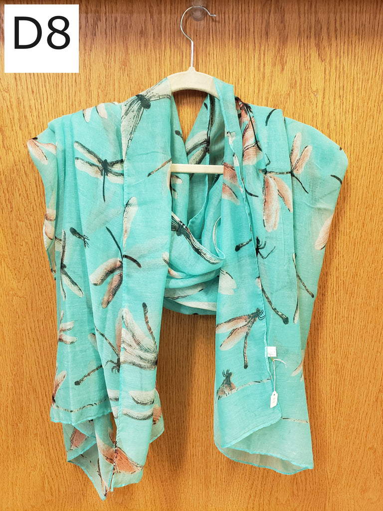 Scarf - Dragonfly, Green - $18