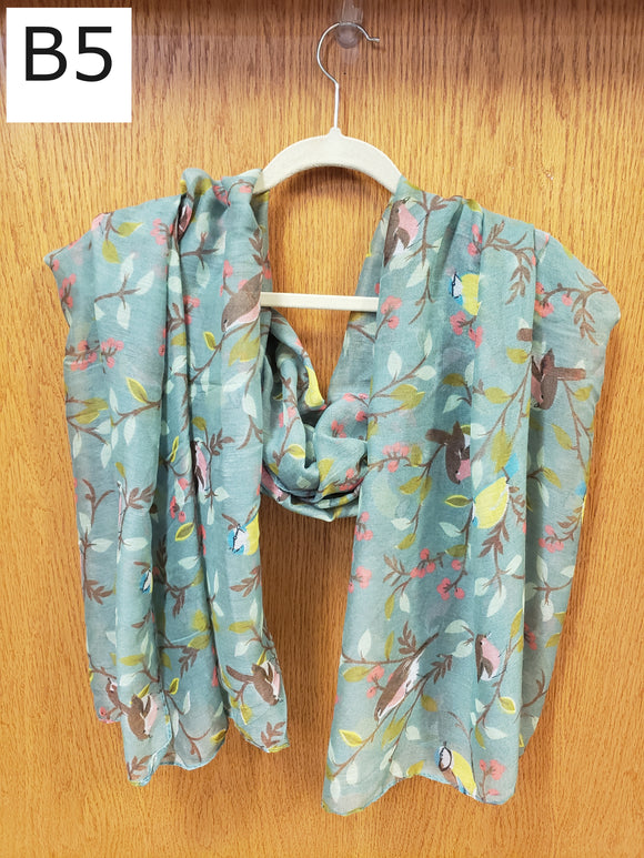 Scarf - Birds, Blue Gray - $18
